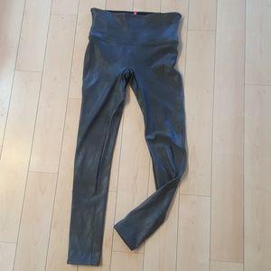 Deep olive Spanx leather look leggings